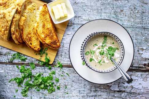 Mushoom Soup with Cheesy Toasted Sourdough