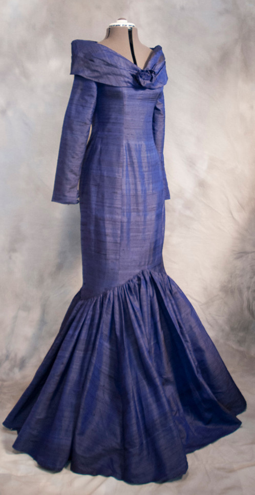 Hand Made Navy Silk Ball Gown Size 10