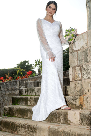 A modest beaded wedding dress filled with a mesh pattern