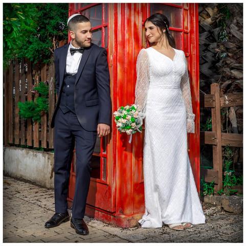 A modest beaded wedding dress, model Talia
