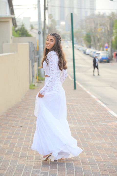 A modest two-piece wedding dress