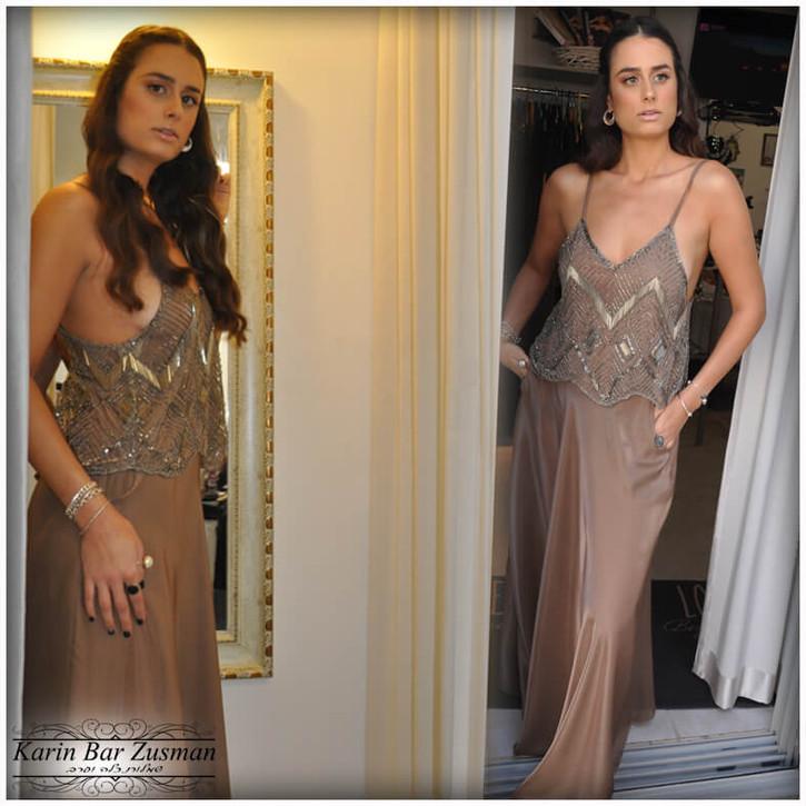 שמלת ערב ברונזה שני חלקים