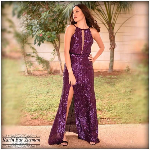 שמלת ערב  סגולה עם פייטים