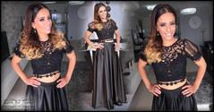שמלת ערב שחורה שני חלקים