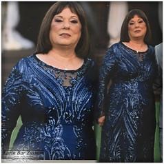 שמלת ערב כחולה צנועה אמא של כלה