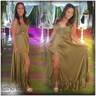 שמלת ערב ירוק זית