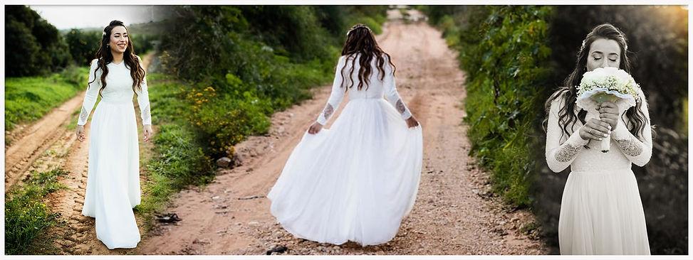 שמלת כלה צנועה מחורזת עדינה