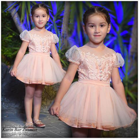 שמלת אפרסק ילדה גיל 4