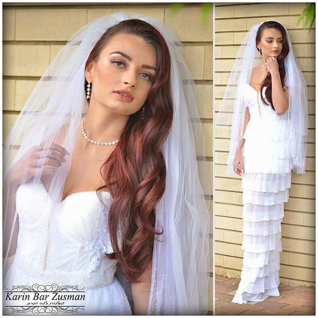 שמלת כלה עם חריזה מיוחדת בסגנון דג עם שכ