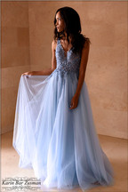 Light blue evening dress with tulle