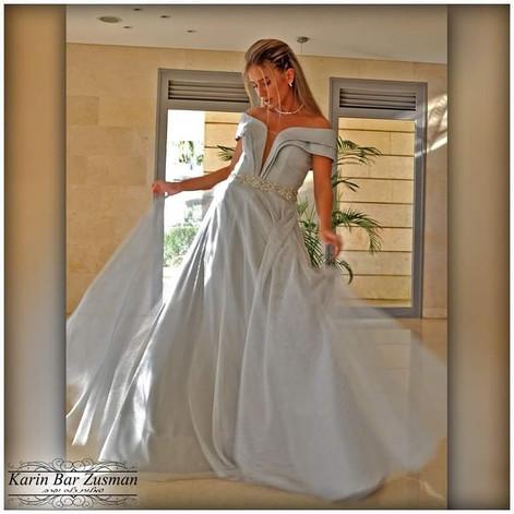 שמלת ערב כסוף בהיר רשת