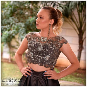 Gray evening dress two-piece mouse beaded top