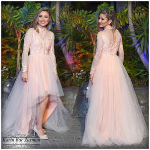 שמלת ערב אפרסק צנועה ושיקית עם טול