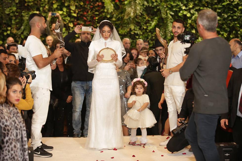 Full modest beaded wedding dress