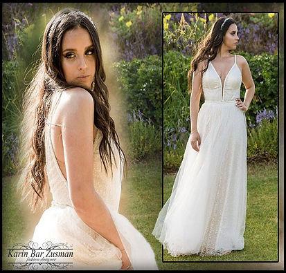 שמלת כלה מנצנצת דגם משולשים