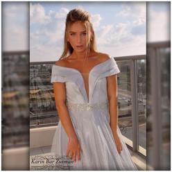 Light silver mesh evening dress