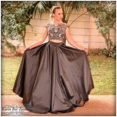 שמלת ערב אפור עכבר שני חלקים טופ מחורז