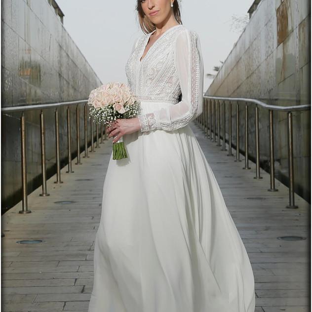 שמלת כלה שיפון קלוש עם טופ וי מיוחד ומחו