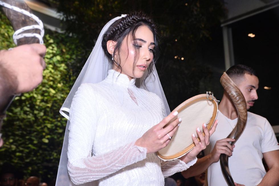 A modest beaded wedding dress