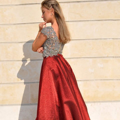Red evening dress resting parts
