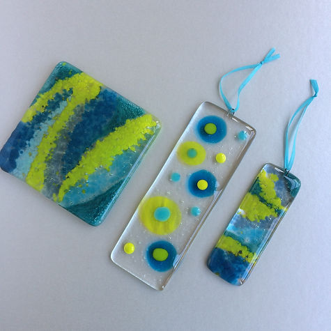 Little Orchard Glass - Coaster and suncatchers - some favourite colour combinations