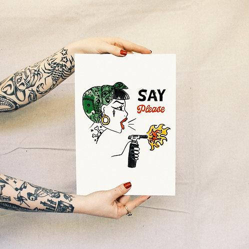 'Say Please' Print - White