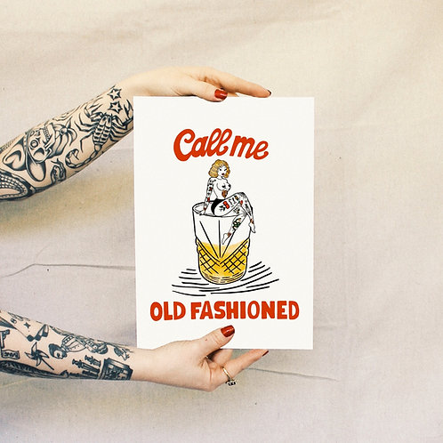 'Old Fashioned' Print - White
