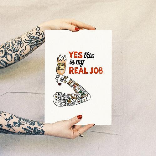 'Real Job' Print - White