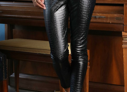 Faux Leather Crop Pants with Back Zipper