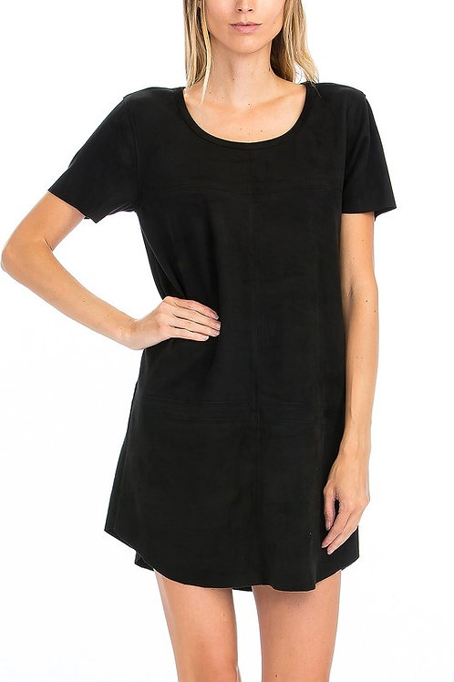Suede Dress Black by Olivaceous