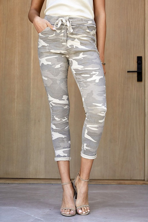 Beige Crinkle Jogger by Venti 6