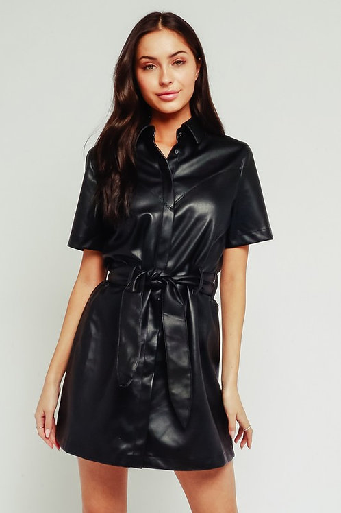 Leather Mini Dress by Olivaceous