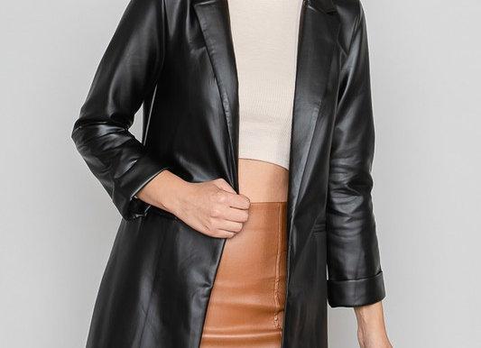 Black Pleather Oversized Blazer Jacket