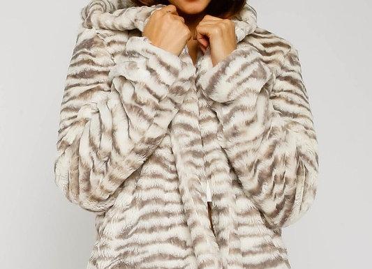 Zebra Faux Fur Jacket