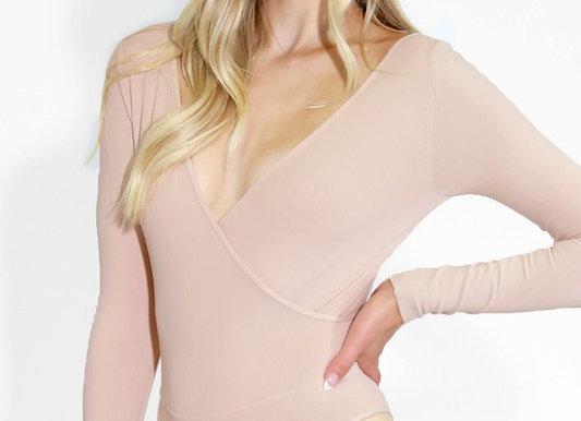 One Size Wrapped Neckline Bodysuit