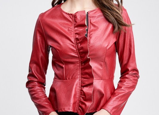 Ruffle Zip Up Jacket by Venti 6