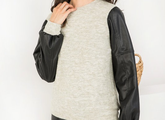 Leather Sleeve Knit