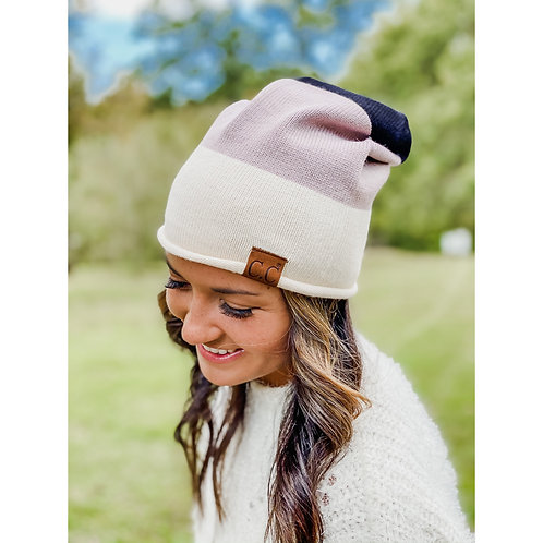 CC BEANIE COLORBLOCK ROLLED CUFF SLOUCHY
