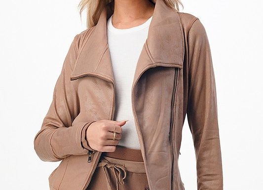 Moto Jacket with Zippered Detail