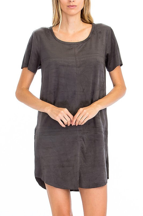 Suede Dress Charcoal by Olivaceous