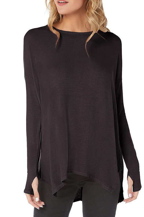 One Size Ribbed Scoop Neck Asymmetrical Tunic Top by Michael Stars