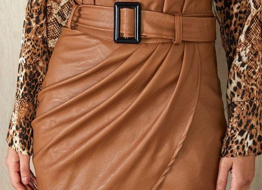 Pu Belted Drape Skirt
