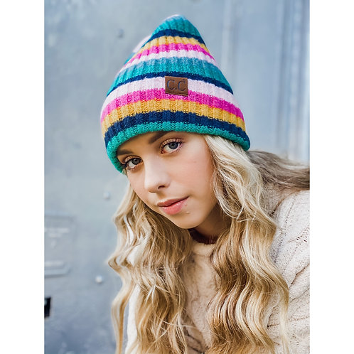 C.C Multi Color Striped Ribbed Knit Beanie with Cuff