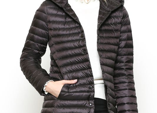 Long Puffer Jacket With Hoodie