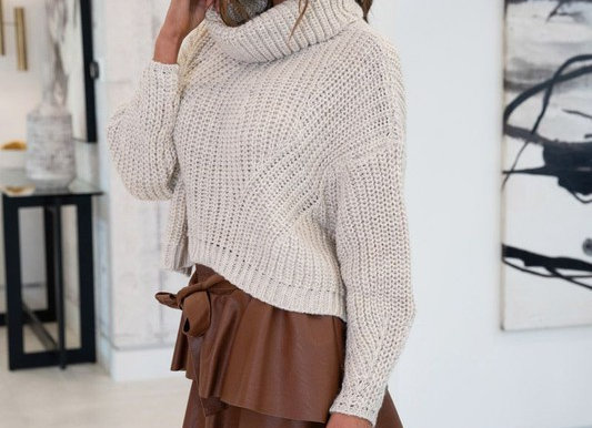 Chunky Knit Cowl Neck Sweater