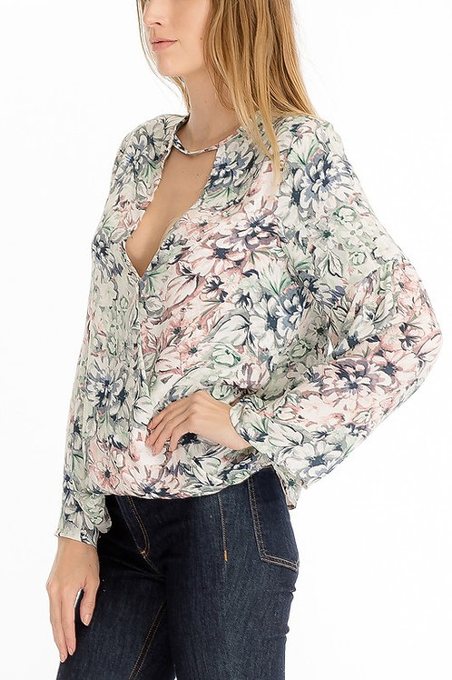 Print V-Neck Top by Olivaceous