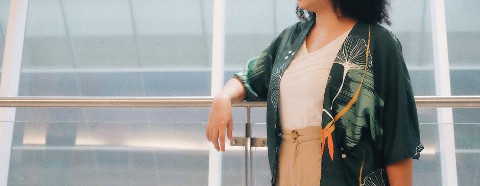Green Ginkgo Kimono Outer