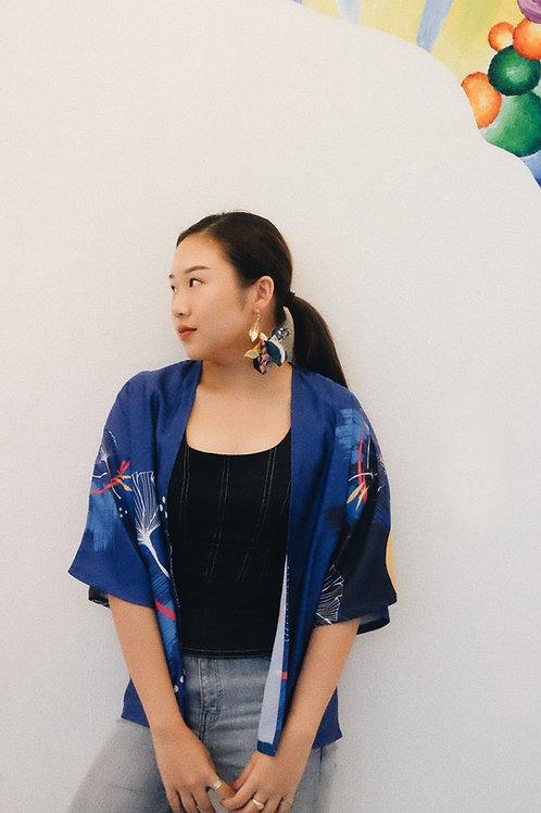 Indigo Ginkgo Kimono Outer