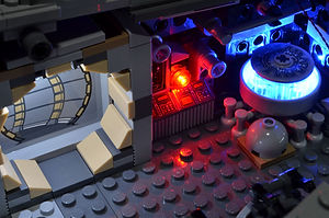 Rear interior of the LEGO UCS Millennium Falcon with the Brickstuff Light and Sound kit installed.