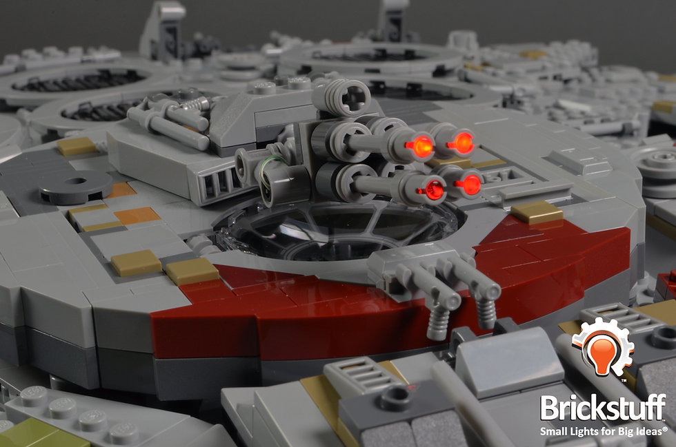 Laser cannons firing on the LEGO UCS Millennium Falcon.